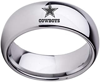 Sping Jewelry Dallas Cowboys Dome Football Ring NFL Silver/Gold/Black Titanium Steel Sports Band for Men Women