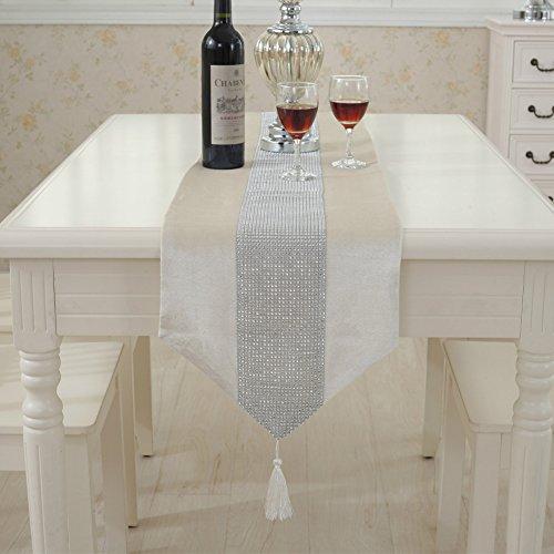 Jian ya na camino de mesa hecha a mano elegante estilo natural mantel con tira de diamantes y flecos para bodas y...