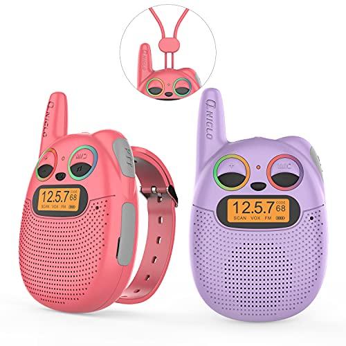 QNIGLO Q136 Walkie Talkie Niños Recargable USB,Radio FM 2 Km Alcance 10 Tonos de Llamada,Montar en Bicicleta Caminar Acampar Correr,Navidad Cumpleaños Regalos para Chicas Chicos(RojoVioleta)