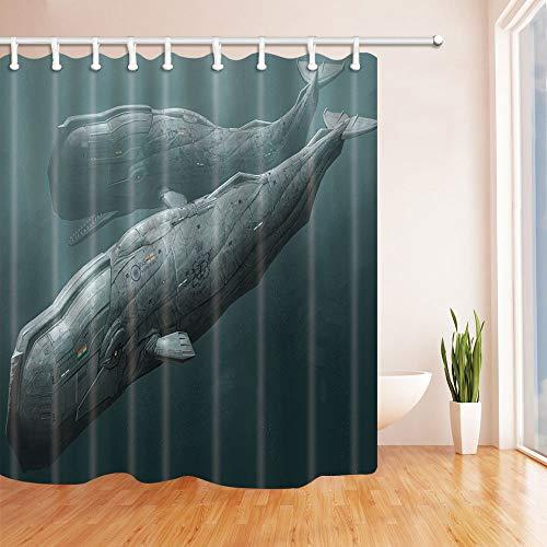 vrupi Duschvorhang Sea Monsters U-Boot im Meer, 180 x 180 cm, schimmelresistent, Polyester Stoff für das Badezimmer, Fantastische Dekorationen, Badvorhänge, Haken im Lieferumfang enthalten