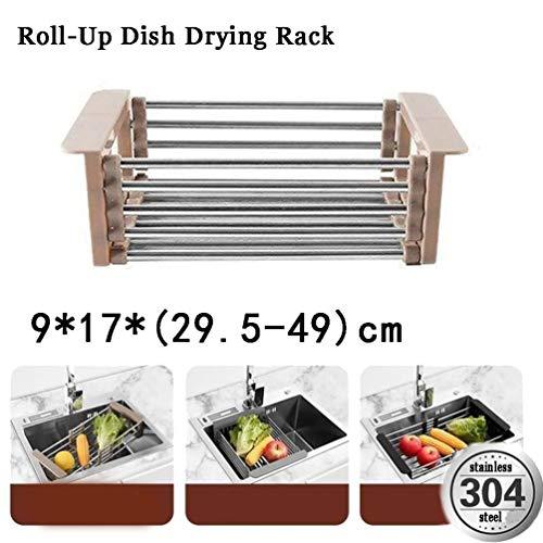 Roll-Up Geschirr Wäschetrockner, Wasch- oder Spülbecken über Abtropfbrett, Faltbare Küche Organizer-Edelstahl-Teller Wäschetrockner Abtropfbrett (Color : Brown)