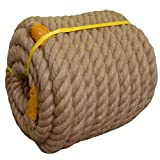 Twisted Manila Rope Jute Rope (1.5 in x 85 ft) Natural Thick Hemp Rope for Boat Deck, Railings, Climbing, Decorating