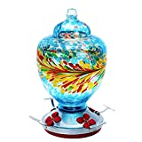 Viajero Hummingbird Feeders for Outdoors, Large 38oz Hand Blown Glass Leak-Proof Hummingbird Feeder with 4 Perch & Ports, Ant Moat & S-Hook, Easy to Wash Fill, Red Orange Yellow Attract Humming Bird