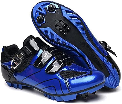 KUXUAN Zapatos de Ciclismo para Hombres y Mujeres, Zapatos Deportivos Profesionales para Bicicleta, Hebilla giratoria con Cierre automático, Tacos Transpirables,Blue-37