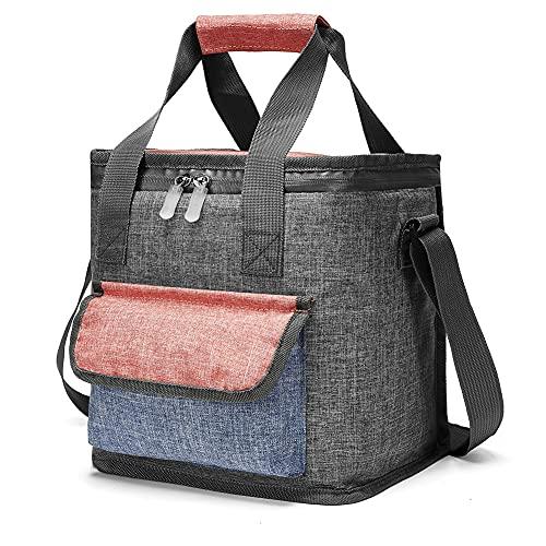 klein Isolierte Kühltasche 10L Mittagessen Tasche faltba Picknicktasche lunchtasche damen herren für Arbeit Camping Strand Grill Grau 10L