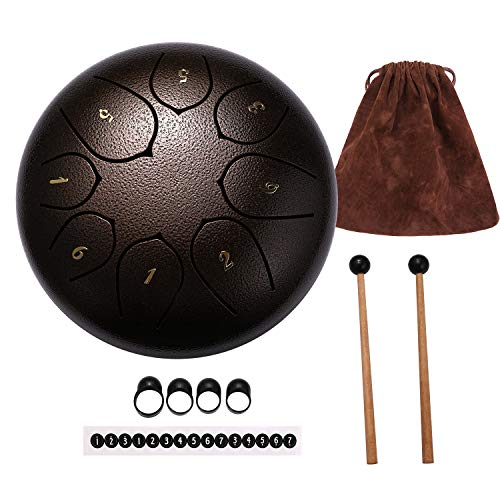 Topnaca Tamburo in Acciaio 8 Note 6 Pollici, Steel Tongue Drum Handpan drum a Percussione con Bacchette per Tamburi Carry Bag Note Sticks, per Meditazione Yoga Zazen Sound Healing Rosso