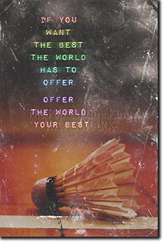 "Introspective Chameleon Badminton Motivation 04""If You Want The Best. Photo Print Art Motivation Quote Gift Inspiration Racquet Shuttlecock Sport Net - Size: 18 x 12 Inches (45 x 30 cm)"