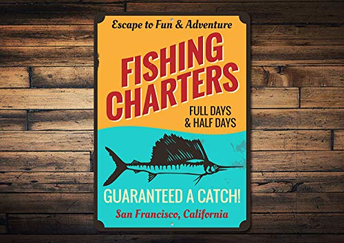 Fishing Charters Sign, Personalised Fishing Catch Fun & Adventure Decor, Custom Fisherman Location Name Gift - Novelty Aluminum Charter Sign, Metal Signs Tin Plaque Wall Art Poster 12