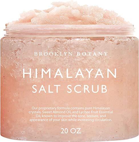 Brooklyn Botany Himalayan Salt Exfoliating Body Scrub & Foot Scrub - All Natural Exfoliator, Moisturizes With Sweet Almond Oil - Scrub Away Dead Skin - Great Gifts For Women - 20 oz