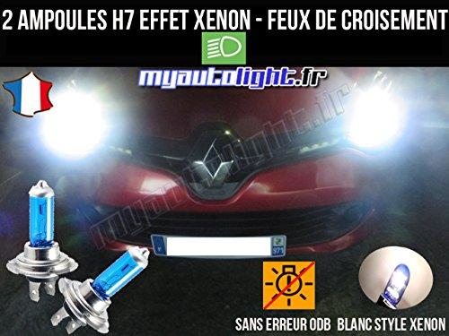MyAutoLight- Pack ampoules H7 blanc xenon feux croisement-code pour CLIO 4