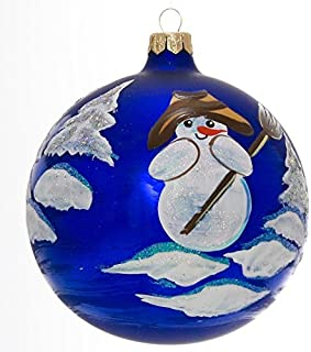 Snowman with Broom Hand Painted and Mouth Blown Christmas Ornament Ball - Produced by Hand in Poland