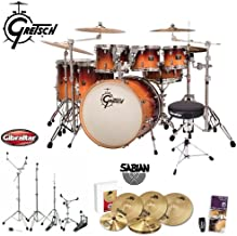 Gretsch CMT-E826P-MOF Catalina Maple Mocha Fade 7-Pc Shell Pack with Drum Set Guide, Shaker, Drum Throne, Hardware & Cymbals