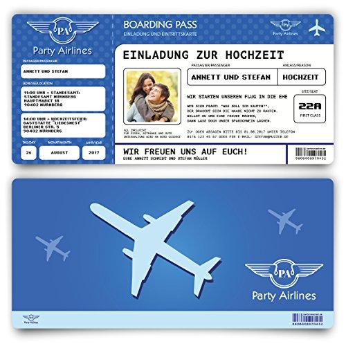 Einladungskarten zur Hochzeit (20 Stück) Flugticket mit Foto Einladung in Blau