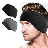 DIAOCARE 2 Stück Winter Stirnband Sport Headband für Herren Damen,Ohrenwärmer Stirnbänder Ohrenschützer,Kopfband Warm Winddicht für Laufen Wandern Fahrrad (Schwarz+Grau)