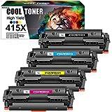 Cool Toner Cartuccia toner Compatibile In sostituzione di HP 415X W2030X 415A W2030A Color Laserjet Pro MFP M479fdw M479dw M479fdn M454dw M454dn Cartridge (Nero,Ciano,Giallo,Magenta,confezione da 4)