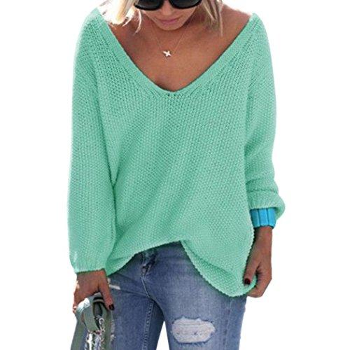 cooshional Donna Maglione Sciolto Spalla scesa Scollo V Profondo Pullover Sweater Taglia M