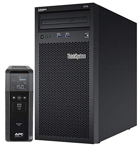 Lenovo ThinkSystem ST50 Tower Server Bundle Including APC BR1500MS 1500VA UPS, Intel Xeon 3.4GHz CPU, 32GB DDR4 2666MHz RAM, 6TB HDD Storage, JBOD RAID