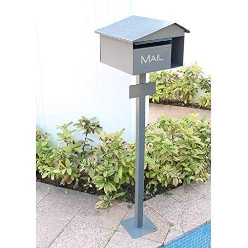 ZWH-Briefkasten Mailbox Zeitschrift Zeitung Mailboxes Pole-Typ verzinktem Blech mit Verschluss-Letter Box (grau) 32,9 * 34,5 * 12,5 cm Tür Briefkästen