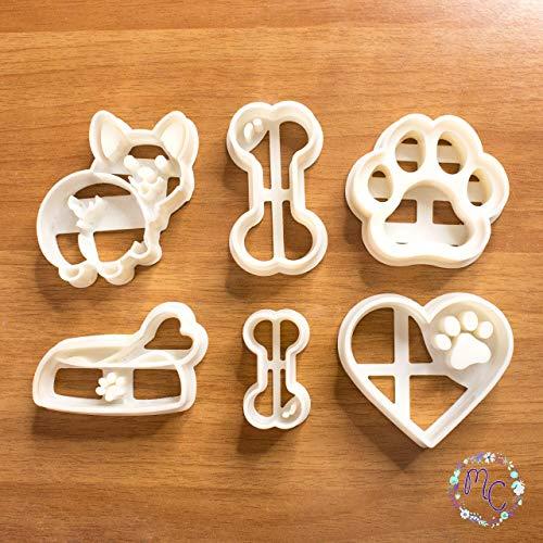 Dog Friend Set mit Keksausstechformen, auch geeignet für Zuckerpaste, Kuchendekoration, handwerklichen Ton, Fondant, Fimo und andere Modellierpasten
