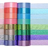 Colored Decorative Washi Tape Set - 16 Rolls Gold Foil Macaron Colors Masking Tape, Cute Rainbow Japanese Paper Tapes for Bullet Journals, Scrapbooking & Crafts Supplies,15mm Wide