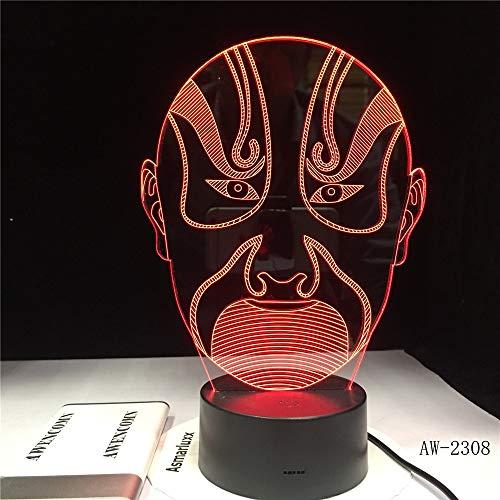 Nur 1 Artikel 3D Vision Nachtlicht Peking Opera Männliches Gesicht Buntes LED-Bildbuch Touchment Control Farbe 3D Nachtlampe Schreibtischlicht