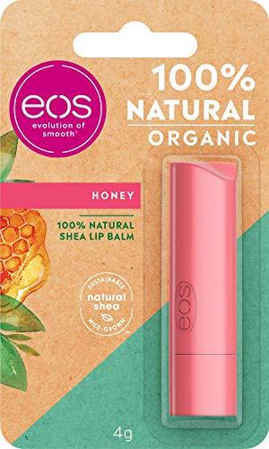 eos Organic Stick Honey Lip Balm, feuchtigkeitsspendende Lippenpflege, mit mildem Honig, für weiche Lippen, mit natürlicher Sheabutter, 7 g