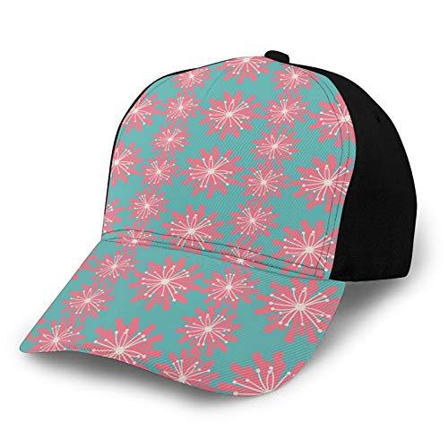 Fuliya Printed Adjustable Baseball Cap,Germinating Plants Wildflowers Twigs Sprouts Buds Lively Rustic Patio Print,Hat for Men Women Teens