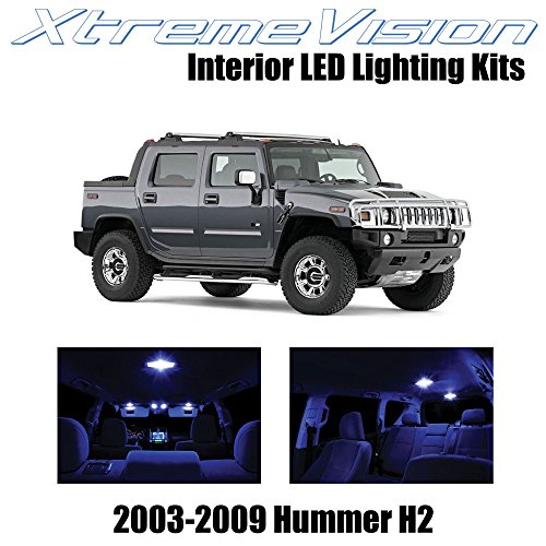 XtremeVision Interior LED for Hummer H2 2003-2009 (15 Pieces) Blue Interior LED Kit + Installation Tool