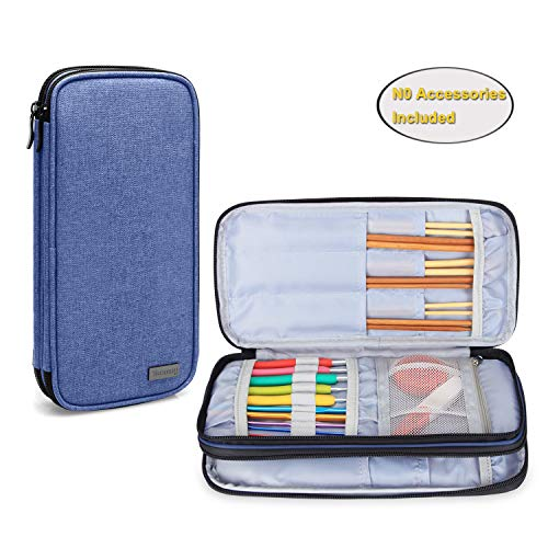 Teamoy Knitting Needles Case(up to 10-Inch), Travel Organizer Storage Bag for Circular and Straight Knitting Needles, Crochet Hooks and Knitting Accessories, Dark Blue-NO Accessories Included