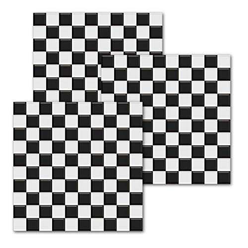 GuoQiang Zhou Juego de 10 adhesivos para pared con mosaicos de cristal a cuadros, autoadhesivos, impermeables, para decoración del hogar (color: blanco y negro, tamaño: 20 x 20 cm)