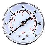 Manomètre en Acier Inoxydable Jauge de Pression Cadran 50 mm 1/8 BSPT Montage Arrière Pour Air Eau Huile Gaz(0-60PSI 0-4Bar)
