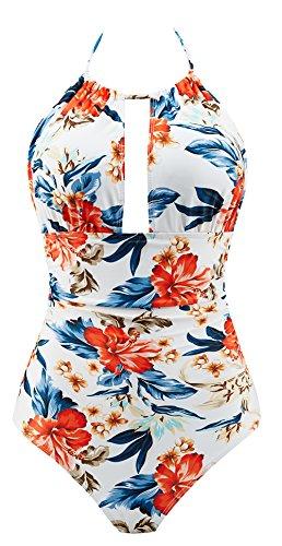 B2prity Women One Piece Swimsuit Tummy Control Swimwear V Neck Bathing Suit