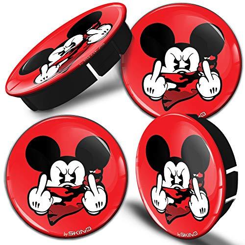 SkinoEu 4 x 60mm Universal Tapas De Rueda De Centro Dedo Medio Mouse Dedo Medio Tapacubos para Llantas Coche C 35