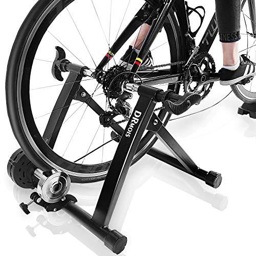 DRMOIS Rollentrainer Fahrradtrainer Indoor Fahrrad Heimtrainer klappbar inkl. Schaltung mit 6 Gänge für Rennrad 24