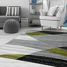 VIMODA Alfombra Moderna de salón con Dibujo geométrico en Gris, Blanco, Negro y Verde. Material con Certificado ÖKO Tex, Maße:60x110 cm