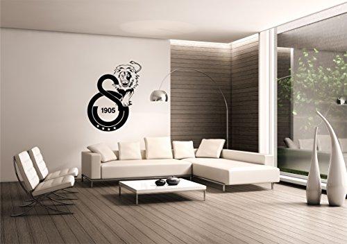 Saphir Design Wandtattoo Galatasaray mit Löwe / 4Sterne WT14 (Schwarz Matt, 60x80cm)