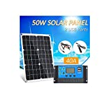 Ltteny 50W DC 5V / 18V Dual Output Solarpanel mit 2 USB-Anschlüssen und IP65-Wasserdichtigkeitsregler für 12V / 24V Solarladeregler PWM Intelligenter Regler