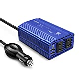BESTEK インバーター 300W シガーソケット USB 2ポート 車載充電器 ACコンセント 2口 DC12VをAC100Vに変換 MRI3010BU-BL