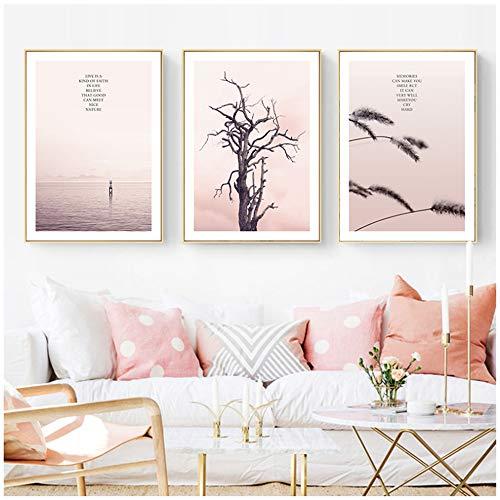 LiangNiInc Wandkunst auf Leinwand, nordischer Stil, Rosa-Landschaft, Poster, Kunstdruck, Baum mit Schilfrohr, 50 x 70 cm, ohne Rahmen