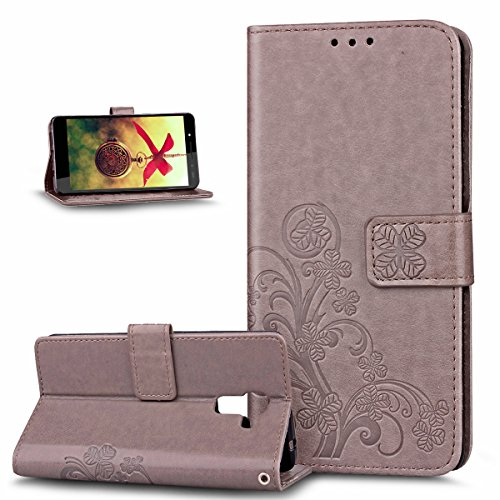 Coque Huawei Honor 7,Etui Huawei Honor 7,Gaufrage Trèfle Fleur Floral Motif Housse Cuir PU Housse Etui Coque Portefeuille Protection supporter Flip Case Etui Housse Coque pour Huawei Honor 7,Gris
