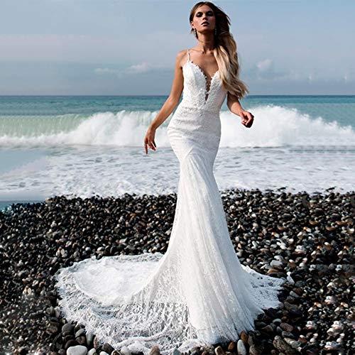 HALOHU Bodenlangen Brautkleid romantische Spitze Spaghetti-Trägern Ausschnitt rückenfreie Meerjungfrau Brautkleid mit Perlen sexy offenen Rücken Braut
