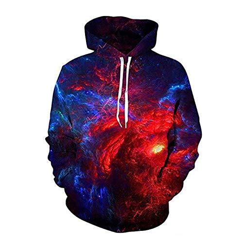 3D Teen Pullover Nebula Majestic Hoodies Unisex Casual Pullover Leichte Sweatshirts Pullover Plüsch Futter Paar Shirt,3XL