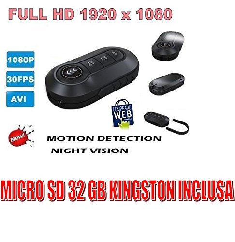 Handhouder Spia Video Full HD 1920X1080P + MicroSD-32GB Kingston TELECOMANN PENNE SPY TELECAMERA VISION NIGHT VISION
