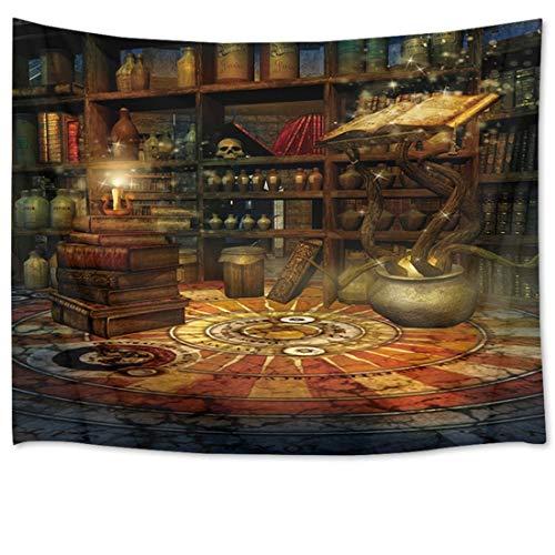 HVEST Tapeçaria de castelo mágico livros de magia e caveira no quarto da bruxa tapeçarias boêmias para decoração de quarto sala de estar, 80Wx60H polegadas
