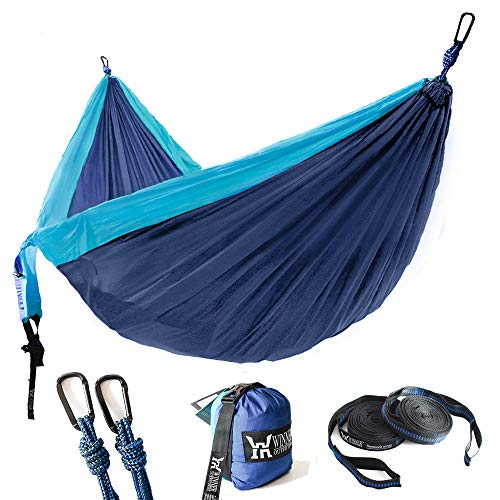 "WINNER OUTFITTERS Double Camping Hammock - Lightweight Nylon Portable Hammock, Best Parachute Double Hammock for Backpacking, Camping, Travel, Beach, Yard. 118""(L) x 78""(W) Blue/Navy Blue"