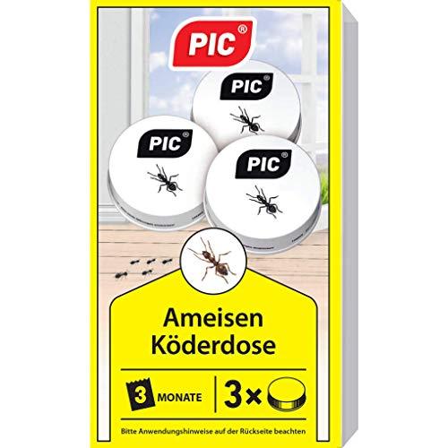 PIC - Ameisenköder Dose - 3 Stück – Ameisenköder für Innen, Terrasse, Balkon und Keller– Bekämpft das ganze Ameisennest