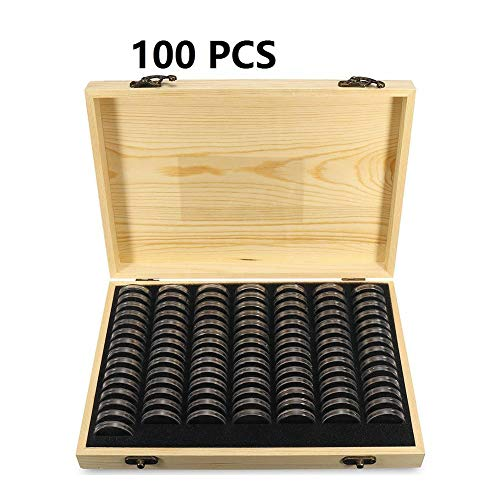 beiyoule Coin Capsules Holder, Universal Coin Container Case w/Adjustable Pad & Wooden Storage Box, Display Commemorative Collection Case for 18/21/25/27/30mm