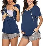 Ekouaer Maternity Nursing Pajamas Breastfeeding Top and Shorts Set Labor Pregnancy Sleepwear for Hospital Navy Blue