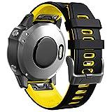 ANBEST Pulsera de Silicona Compatible con Fenix 6S/Fenix 5S Correa, Banda de Repuesto Liberación Rápida Correa Apropiado para Fenix 5S Plus/Fenix 6S Pro/D2 Delta S Smart Watch, Negro/Amarillo