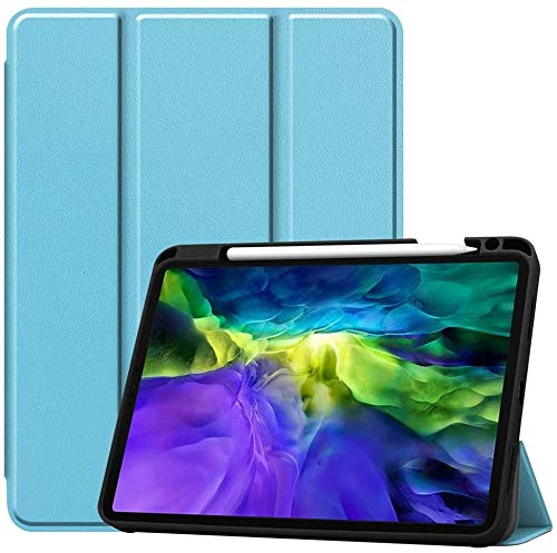 Case2go - Case for iPad Pro 11 (2021) - Slim Tri-Fold Book Case - Lightweight Smart Cover with Pencil Holder - Blue
